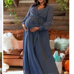 NWOT Blue Chiffon Long Sleeve Plus Maternity 2X